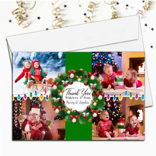 10 Personalised Christmas Xmas Gift Thank you PHOTO Cards Notes N60